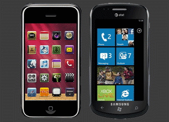 Compare the user interface of win7 mobile to win8 mobile