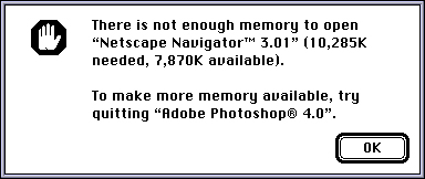 Photoshop needs to close to let Netscape run 1990s mac os 9 dialog