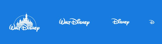 Responsive logo design, showing a series of images of the disney logo at different resolutions