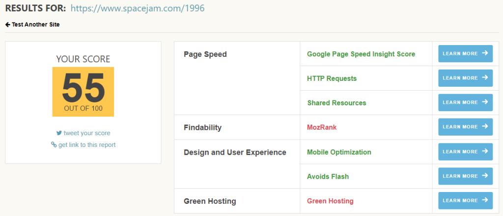 Ecograder result for Space Jam, 1996 website, 55 out of 100